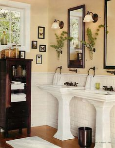 Bathroom With Two Pedestal Sinks