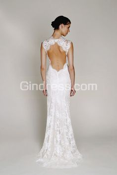 Monique lhuillier Scarlet French Lace Open Back Wedding Dress ...