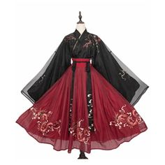Chinese Style Night String Songs Big Sleeve Hanfu Role Play Dragon Pattern Chest Skirt Embroidery Hanfu - S/M/L/XL Old Fashion Dresses, Kimono Fashion, Lolita Fashion, Fashion Outfits, Pretty Outfits, Pretty Dresses, Beautiful Dresses, Cosplay Dress, Cosplay Outfits