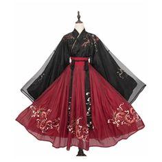 Chinese Style Night String Songs Big Sleeve Hanfu Role Play Dragon Pattern Chest Skirt Embroidery Hanfu - S/M/L/XL Old Fashion Dresses, Kimono Fashion, Fashion Outfits, Kawaii Fashion, Lolita Fashion, Pretty Outfits, Pretty Dresses, Mode Kimono, Anime Dress