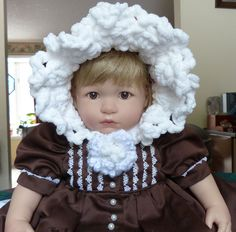 Fancy Bonnet made from Baby Blanket Yarn