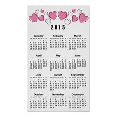 Pink White Sketchy Hearts 2015 Wall Calendar Poster