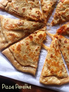 pizza paratha recipe a delicious Indian bread with pizza flavour and goey cheese.easy pizza paratha recipe with stepwise pictures.how to make pizza paratha recipe. Veg Recipes, Indian Food Recipes, Snack Recipes, Veg Breakfast Recipes, Appetiser Recipes, Kids Cooking Recipes, Breakfast Items, Easy Cooking, Cooking Tips