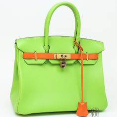 8bd823fca3b3 Special Order  Birkin Colors  Gulliver Apple green  Orange Hardware  Gold
