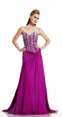 Divinely Hers Boutique - Beautiful Babe (http://stores.divinelyhersboutique.com/beautiful-babe/) Large Stones covering the bodice with elegant flowy skirt. #formal #homecoming #prom #pageant