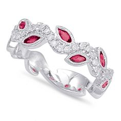 Ruby & Diamond Vine Eternity Band 14k White Gold, Marquise Ruby Willow, Vine Leaf Ring, Stacking Rings, Stackable Band, Anniversary Rings for Women