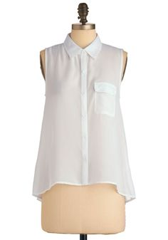 A New Chapter Top - Mid-length, White, Solid, Buttons, Pockets, Sleeveless, Casual
