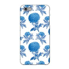 Mums & Roses iPhone 6/6S Case: Mums & Roses is a classic floral print intertwining the resplendent Chrysanthemum and delicate Dog Rose in a retro 1950's blue.   - Blue Mums & Roses iPhone 6/6S case - A protective shell to shield your phone from scratches - Made in Great Britain