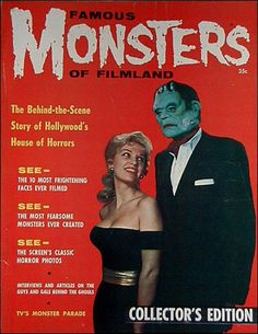 Model and FM publisher James Warren in a Frankenstein mask-and the cover to FM#1.