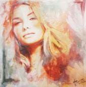 Schilderij Yin van Evelyn Hamilton Hamilton, Close Image, Jade, Abstract, Fictional Characters, Arrow Keys, Arts, People, Portraits