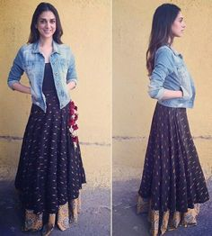 Aditi Rao Hyderi wearing a lehnga with tank top and Jacket by Natasha J Label at her movie Wazir promotions