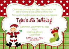 Christmas birthday party invitation    by TheButterflyPress, $10.00