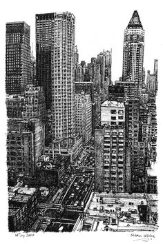 New York street scene - drawings and paintings by Stephen Wiltshire MBE