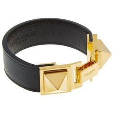 Saint Laurent Clous Punk Cuff Bracelet ($545) ❤ liked on Polyvore featuring jewelry, bracelets, cuff bangle bracelet, chunky jewelry, yves saint laurent, punk jewelry and cuff bracelet