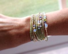 Peridot, Iolite and Pearl Extra Long Seed Bead Wrap Bracelet - Wear as Necklace Bracelet and More