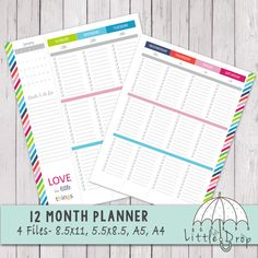 Gorgeous 12 Month Weekly Planner Printables including 2 page month layouts. 4 Sizes included: 8.5 x 11, 5.5 x 8.5, A5, and A4 :) All for $9.99