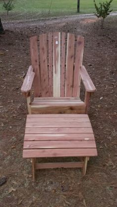 Cedar chair and foot stool.