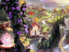 Thomas Kinkade Disney | ... the Beast Falling in Love 18x27 E/P Thomas Kinkade Disney Canvas Art