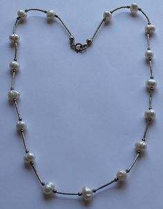Sterling Silver and Genuine Pearl Necklace by onetime on Etsy, $7.25