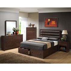 You can create a rich and refined atmosphere for your bedroom decor with help from the Remington Bedroom Set by Coaster Furniture. The pieces carry a dark cherry finish and feature round wood knobs and ample storage options, which are great for keeping sweaters, jeans, blankets, books, bedsheets and towels. Plus, the bed comes with an upholstered headboard that is ideal for late-night reading and crossword puzzles. You'll be set with the Remington collection in your bedroom setting.