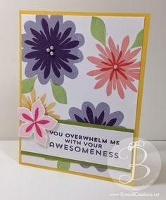 Stampin' Up! Flower Patch stamp set with matching Flower Fair framelits make this great handmade card.