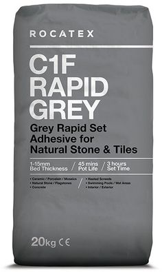 Mega Pallet Deals and Bulk Buy on ROCATEX C1F Rapid Grey is a single part, rapid setting cementitious wall and floor tile adhesive for fixing natural stone and tiles including ceramics, porcelain and mosaics to a variety of solid substrates. Suitable for interior and exterior use. #palletdeals #rocatex #tileadhesive #bulkbuy #buythepallet Tile Transfers, Adhesive Tiles, Grey Tiles, Wire Brushes, Wall And Floor Tiles, Stone Tiles, Heating Systems, Mosaics, Interior And Exterior