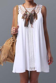 Women's Stylish Lace Spliced Sleeveless Dress