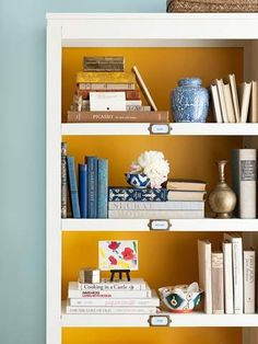 I like this idea of painting the inside of this bookcase.