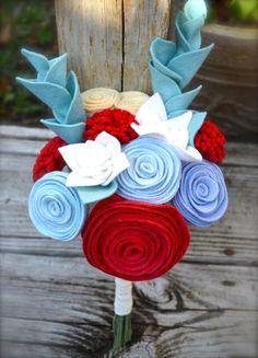 Felt Flower Bouquet  bridesmaids bouquet/bridal by roundtherosies