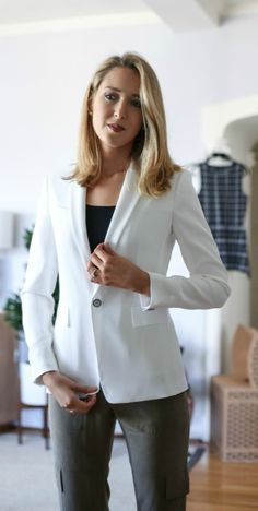 Five Reasons You Have To Try Trunk Club  {theory olive track pants, rag & bone white blazer}