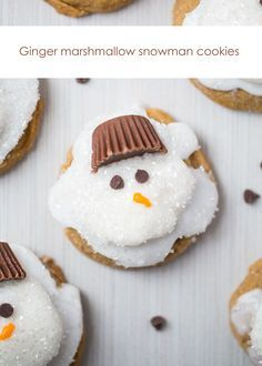 Melted Ginger Snowman Cookies - with a marshmallow belly, Reese's Peanut Butter Cup hat and chocolate chips for the eyes. Such a creative and kid-friendly dessert for the holidays!