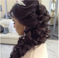 Bridal side swept hair do