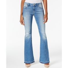 Mavi Peace Flare-Leg Jeans ($118) ❤ liked on Polyvore featuring jeans, light ripp, ripped jeans, retro jeans, white torn jeans, flared leg jeans and distressed jeans