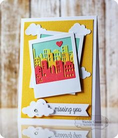 TE Blog Design Team: On Trend - City Skylines Card by Wanda Guess #Cardmaking, #MissingYou