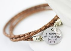 Carry You In My Heart Leather Wrap Bracelet
