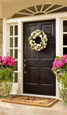 Something very simple and also very beautiful you can do for your front door entrance is to have flower pots. Display them on either side of the door or in its vicinity. If you have a covered porch then it's… Continue Reading → Front Door Planters, Front Door Porch, Front Door Entrance, Front Door Colors, Front Door Decor, Small Entrance, Grand Entrance, Tall Planters, Front Entry
