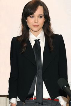 Ellen Page in a suit and tie...hot | Yeahh, IF you're Ellen Page. I wore an outfit like this to work once, and everywhere I went, students just kind of stared. Not in a good way, either.