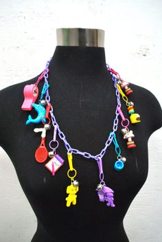 Vintage 1980s Plastic Bell Charm Necklace by ATXGoodwillBoutique, $25.00
