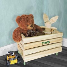 Caixote Rustik Madeira Pinus/ Verde Brinquedos Toy Chest, Storage Chest, Teddy Bear, Animals, Home Decor, Kids Wood, Crates, Infant Room, Activity Toys
