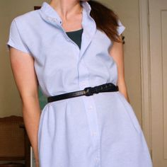 A simple chambray summer shirt dress made from a large, thrifted men's shirt and the steps I used to make it.