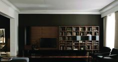 Logo 221 Wall Unit with Bookcase System by Sangiacomo, Italy has walnut veneered bookcase, bases, wall units and bookcase doors gloss lacquered Nero Manufactured By San Giacomo.