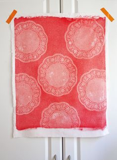 Doily-print fabric made with photosensitive dye | How About Orange
