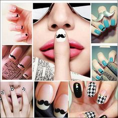 2015 New fashion Nail Sticker England style watermark 3D lovely Design mustache Tip Nail Art Nails Decal nail tools hot sell