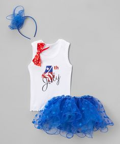 Love this Beary Basics White & Blue 'July 4th' Tutu Set - Infant, Toddler & Girls by Beary Basics on #zulily! #zulilyfinds