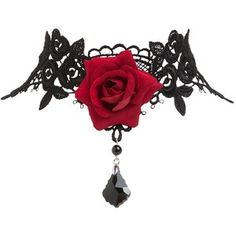 Pretty Vintage Inspired Victorian Gothic Style Black Lace Choker Necklace with Red Rose