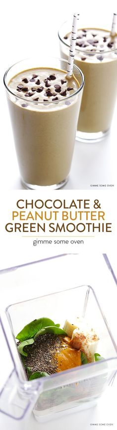 Chocolate Peanut Butter Green Smoothie -- so good, and also good for you! | http://gimmesomeoven.com