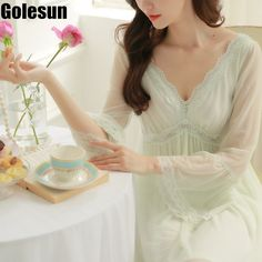 2806a988c2 Image result for autumn retro v collar nightdress Lace Nightgown