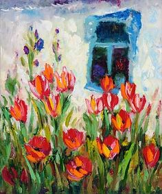 Tulips impressionism oil painting of George Velezhev.