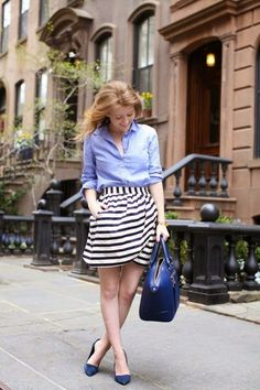 outfit inspiration: oxford + striped skirt + navy flats #spring #fall #classics