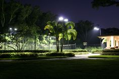 Lighting is a great way to provide extra security so you can enjoy things such as tennis courts in the evenings Light Installation, Tennis, Yard, Lighting, Banks, Sneakers, Light Fixtures, Real Tennis, Garten